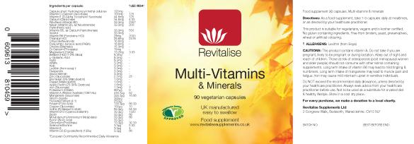 Multi-Vitamins & Minerals label